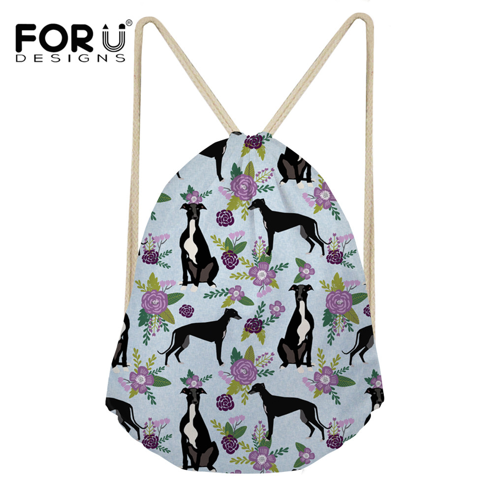 FORUDESIGNS Greyhound Black Women Backpack Drawstring Bag Flower Printing Travel Softback Storage Casual Sack Beach Mochila 2018