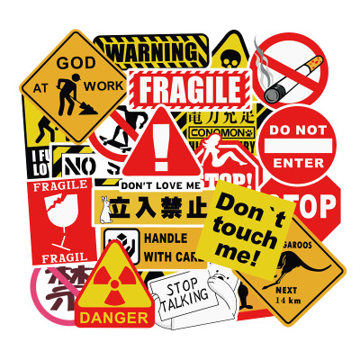10 PCS Warning Stickers Danger Banning Signs Reminder Waterproof Decal Sticker To DIY Laptop Motorcycle Luggage Snowboard Car