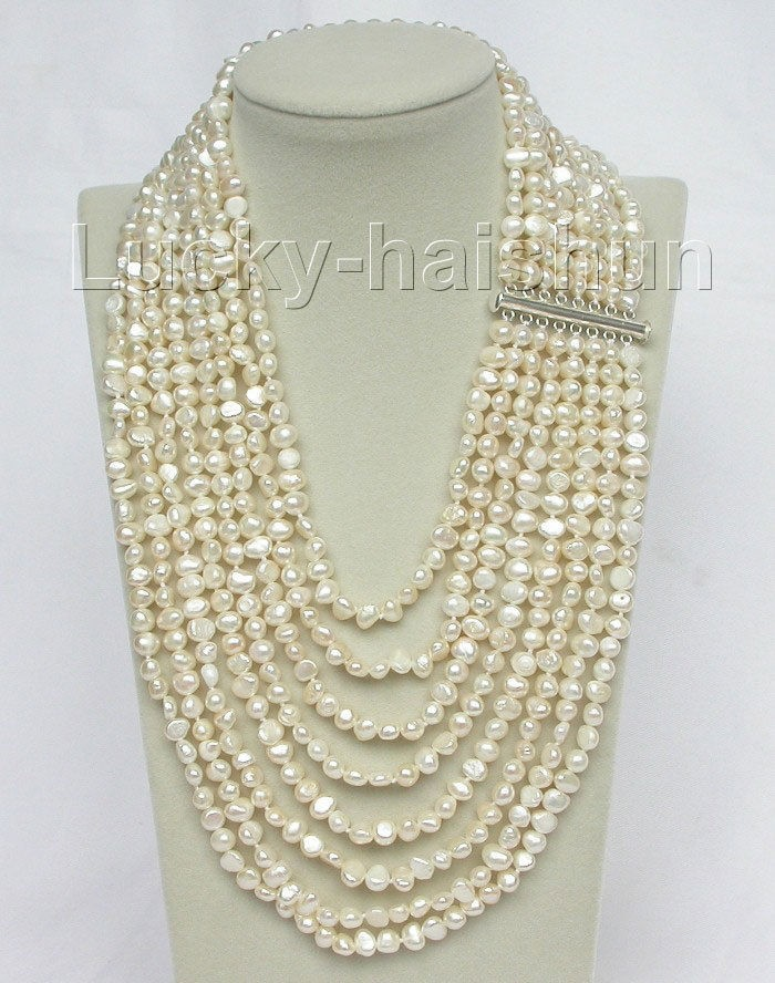 NEW generious lady s 17 24 8row baroque white pearls necklace for wedding and party