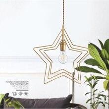 Modern nordic minimalist pendant light creative coppe star LED hanging light lounge kitchen dinner room cafe room bar lamp e27 цена
