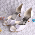 (20 Colors)Wholesale New White Wedding Shoes for Women Open Toe Med Heel with Bowtie