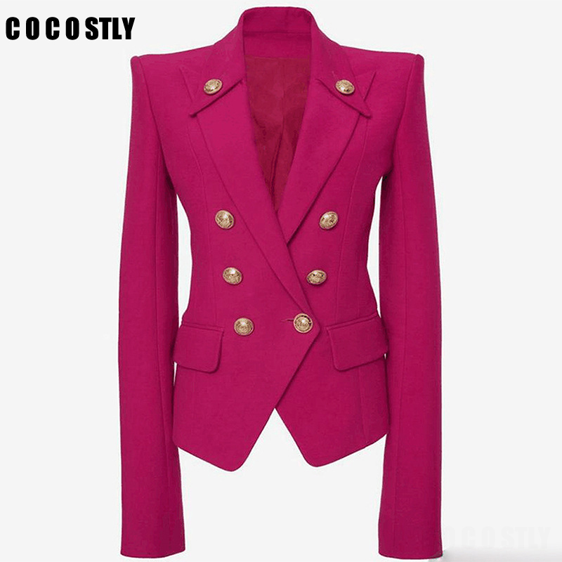 2019 Designer Blazer Women Buttons Double Breasted Metal Buttons Women Blazers And Jackets Outer Wear Office Lady Jackets