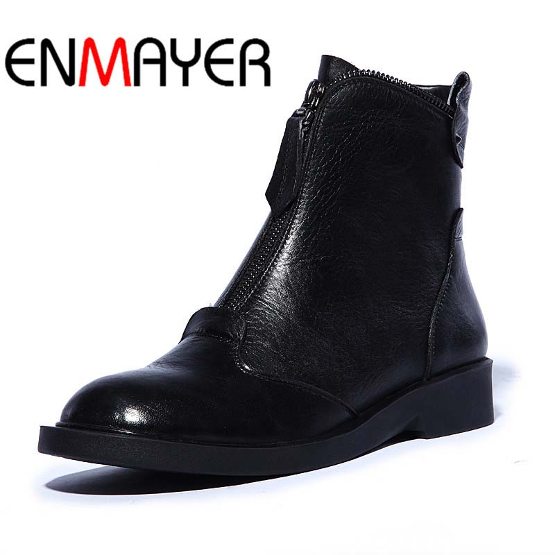 ENMAYER Big Size 34-42 Genuine Leather Ankle Boots for Women Black Newest Snow Fashion Winter Motorcycle Boots Cow Leather Shoes enmayer new motorcycle boots for women sexy rivet shoes fashion martin boots genuine leather boots