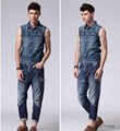 2015 The spring new trend men's denim vest high quality sleeveless jackets men cotton jeans vest men Plus Size M-XL