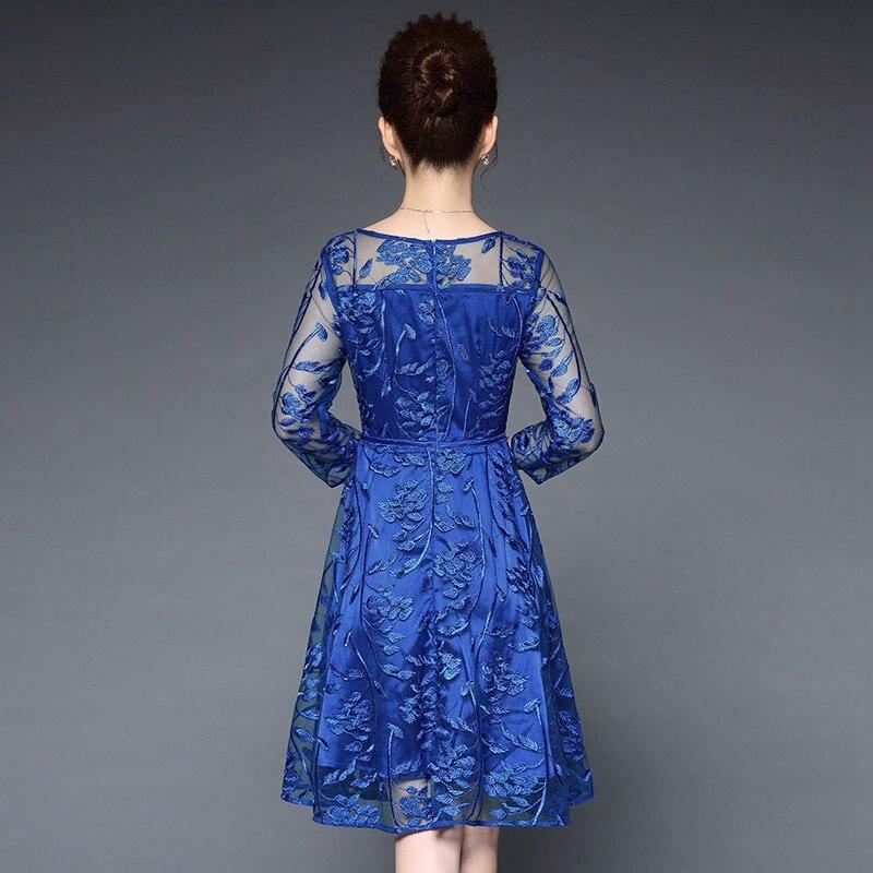 30974e7779 Taille La D'été Vintage Brodé Bleu Plus Broderie Floral Robe Rouge 2  longueur Dentelle 1 ...