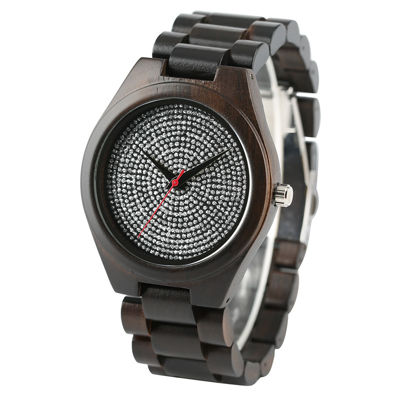 High Quality Hand-made Simple Design Men Women Quarzt Wristwatch Wooden Band Round Rhinestones Dial Cost-effective Watch Gift simple minimalism casual men quartz wristwatch number dial genuine leather band cost effective natural wooden design male watch