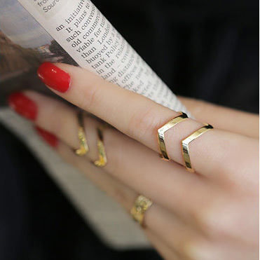 Fashion Stainless Steel Rings Women Punk Joint Gold Plated Double Jewelry Knuckle Ring 2014 The The star Style accessories