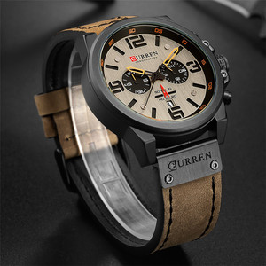 Image 2 - Curren Mens Watches Top Brand Luxury 2019 Waterproof Sport Mens Wrist Watches Chronograph Army Military Leather Men Watch 2018