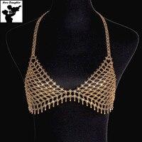 Costume Sexy Beach Party Liga Sutiã De Metal Ouro Corpo Cadeia de Jóias Declaração Triangulo Cintura Colar de Corrente para As Mulheres 2017 De Luxo