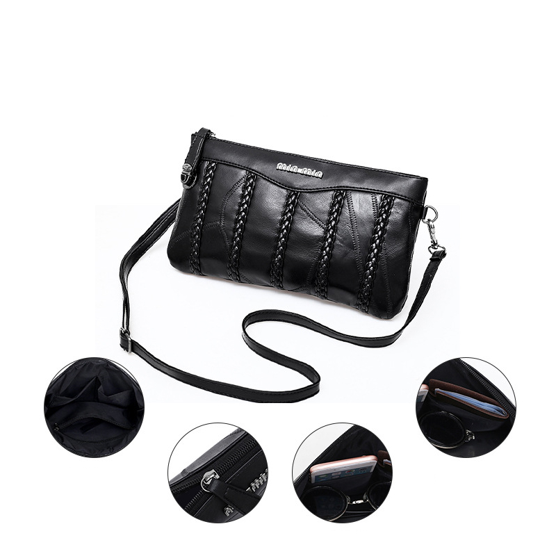 Image 2 - Leather women bag weaving pattern sheepskin mini shoulder bags ladies clutches classic cell phone packet-in Clutches from Luggage & Bags