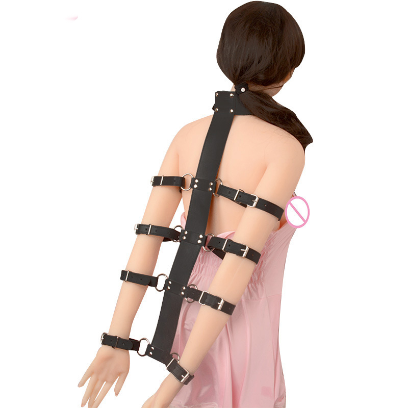 Hot adult games slave restraints hand arm leather harness bondage cuffs bdsm fetish sex toys anti-back handcuffs for couples hot sale hand arm cuffs leather harness bondage restraints handcuffs slave bdsm fetish sex toys for couples adult games
