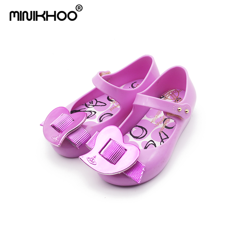 Mini Melissa Original Brand Jelly Sandals Love 2018 New Girls Beach Jelly Sandals Mini Melissa Toddler Shoes Non-slip 15cm-18cm