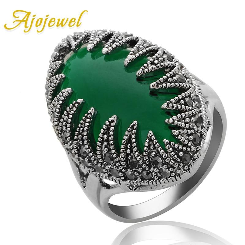 Ajojewel zbrusu nový velký kámen prsten ženy jedinečný design černé drahokamu prst prsten vintage šperky velkoobchod 5 barev