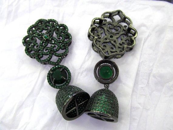 2 pièces 60-80mm Micro Pave Diamant pavé Fermoirs bijoux Micro Pave fluorial couronne pendentif En Laiton connecteur
