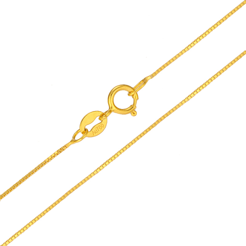 Image 3 - 18k Pure Gold Necklace Rose White Yellow Genuine Women Fine Simple Slim Thin Chains Hot Sale Matched For Any Pendant trendy new-in Necklaces from Jewelry & Accessories