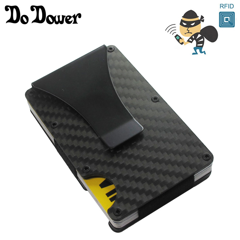 Carbon Fiber Metal Rifd Wallet Mini Money Clip Brand Credit Card ID Holder With RFID Anti-chief Card Wallet Porte Carte