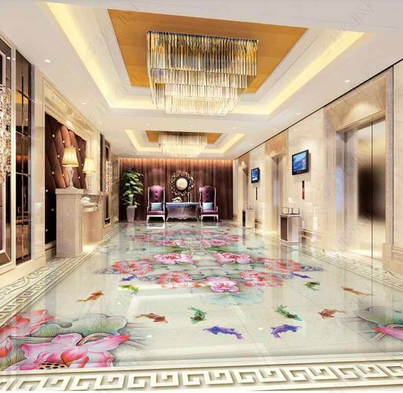 Custom floor 3d wallpaper Colorful lotus Living Room Bedroom Bathroom 3d floor tiles viny Self adhesive.jpg q50