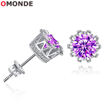 ФОТО omonde gold silver colorful cubic zircon stud earring fashion women shinny earing party jewelry nice gift for best female friend