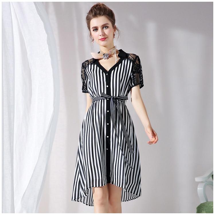 Plus Size Clothing Women Shirt Dress Summer Short Sleeve Striped ...