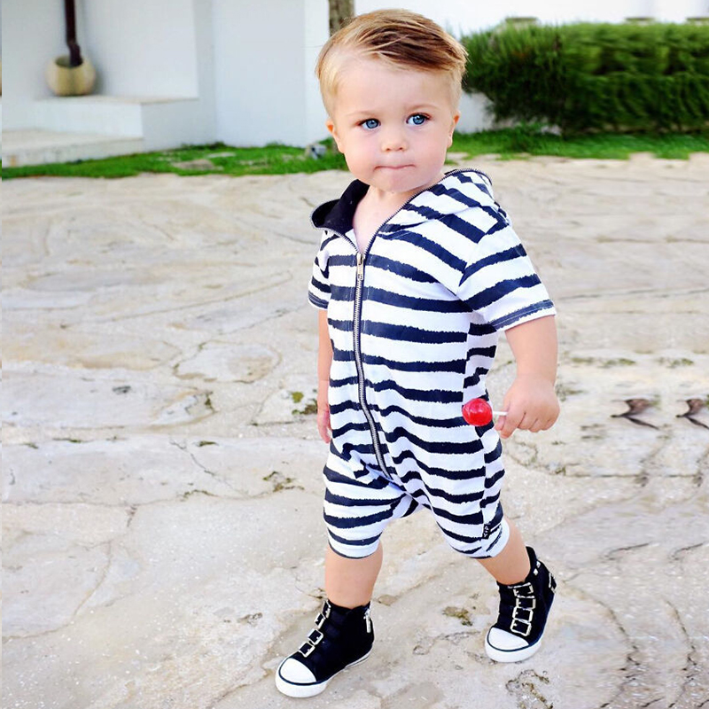 Cool Baby Boy Romper White Black Striped Cotton Baby Clothes For Newborn Boys Zipper Hooded Jumpsuit 0-24 Month 2017