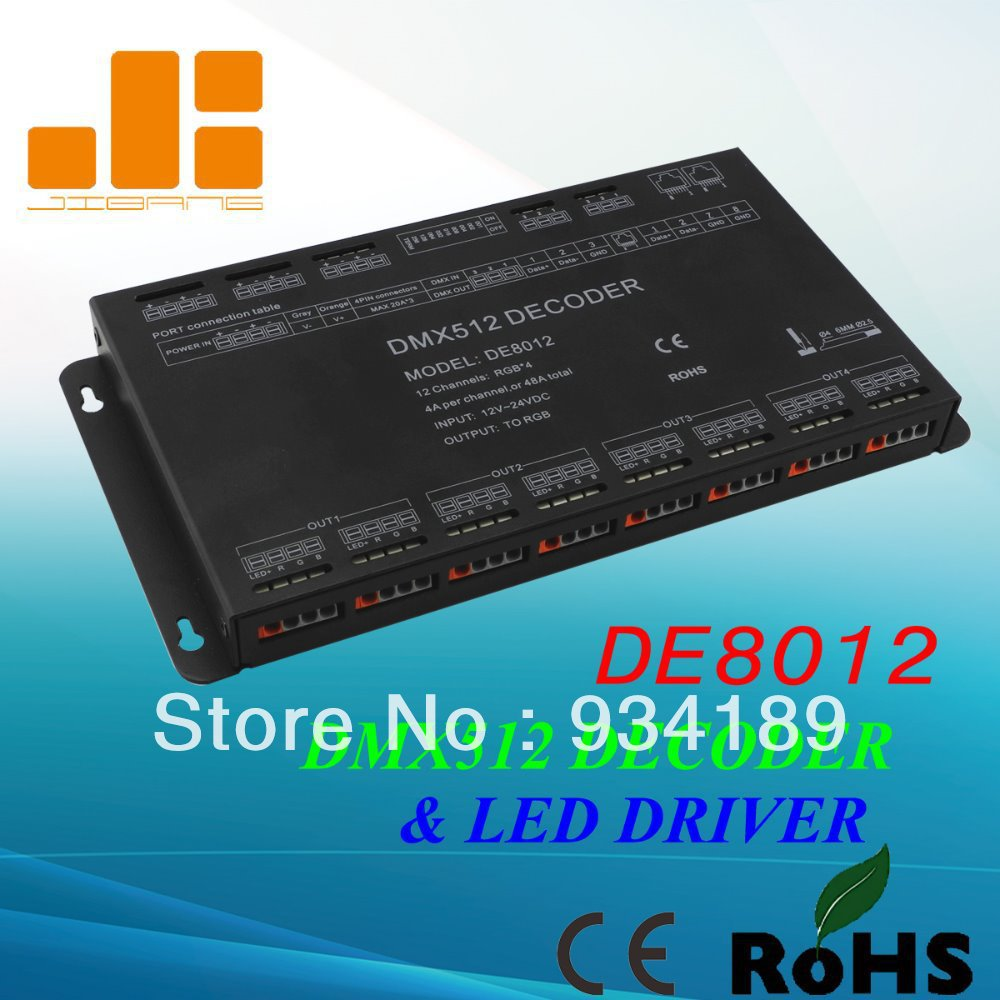 Free shipping 12 Channels DMX driver, RGB driver, LED decoder DMX512, 12V-24V Constant Voltage Output PWM купить
