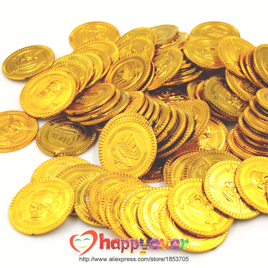 100 Stücke Kunststoff Gold Schatzmünzen Captain Pirate Party Favors Pretend Schatztruhe Kinder Party Supplies Party Münzen