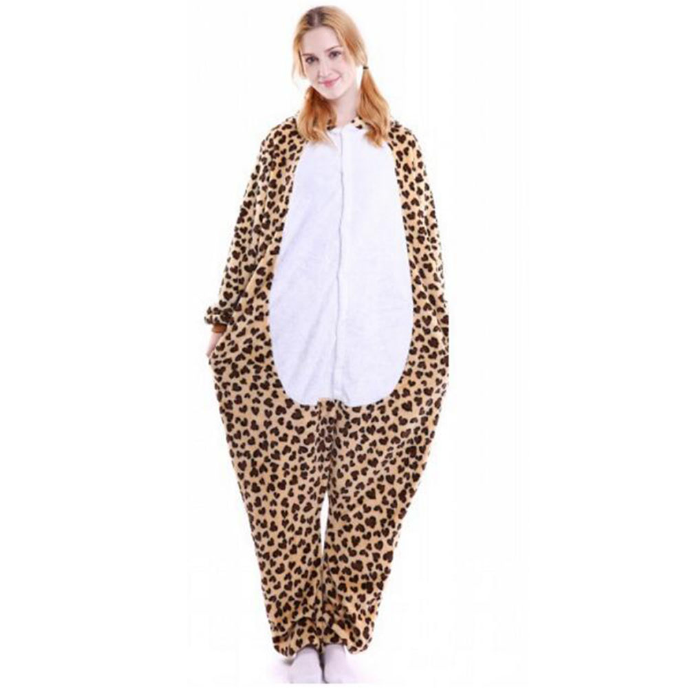 Ouyitaomee 2018 Fashion Leopard Print Hooded Loose pyjamas Men Women Flanne performance Home Clothes