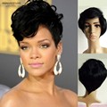 African american celebrity wigs short wigs for black women fluffy synthetic hair wigs natural black Female Rihanna's wavy style