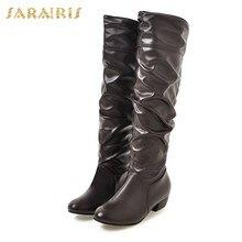 592dfa68f89 SARAIRIS 2018 tamaño grande 34-48 punta Toe Chunky tacones invierno botas  Zapatos Mujer botas cortas partido negro blanco botine.
