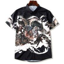الرجال قميص زائد حجم طباعة الوحش عارضة قصيرة الأكمام قميص الصيف رقيقة 5XL 6XL 7XL 8XL 9XL 10XL الذكور الصلبة اللون قميص الأسود