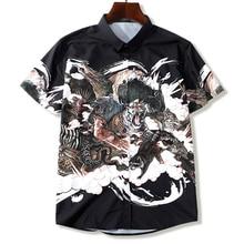 Homens Camisa Plus Size Impressão Besta Camisa de Manga Curta Casuais Verão Fina 5XL 6XL 7XL 8XL 9XL 10XL Sólida Masculino camisa da cor Preta