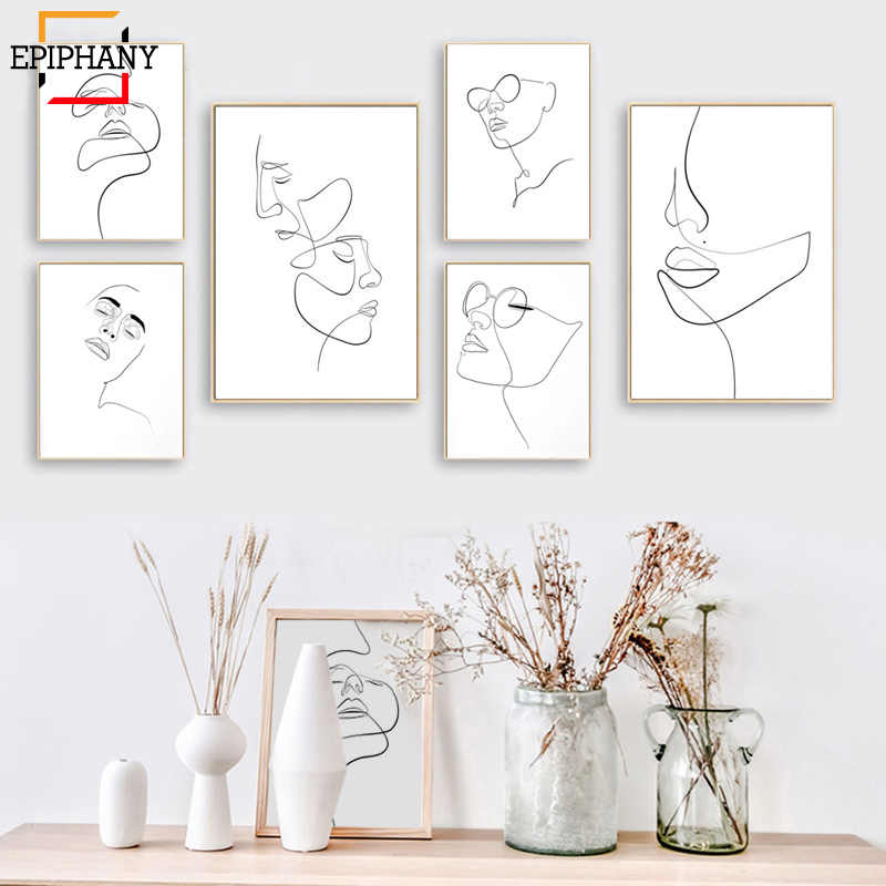 Abstract Female Face Print One Line Drawing Feminine Continuous Lines Minimalist Artwork Modern Wall Art Picture for Living Room