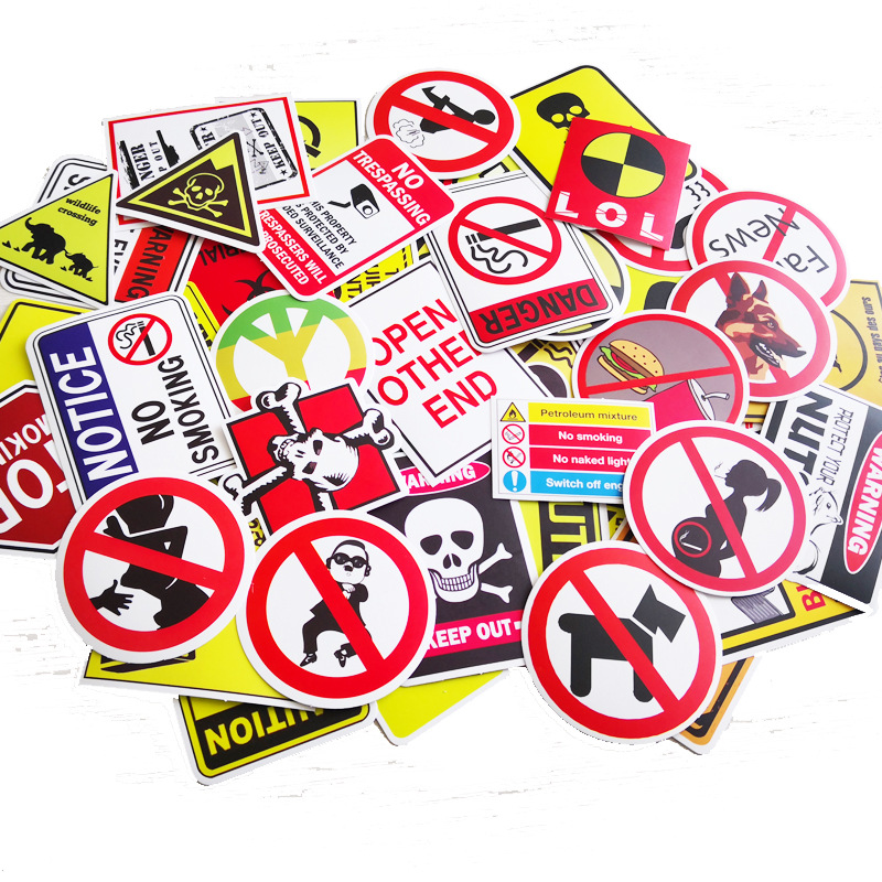 50 Pcs/pack   Do Not Repeat Warning Theme Cross-border Hot Sale Stickers Car Computer Car Bicycle Waterproof Decorative Sticker