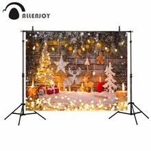 Allenjoy Christmas background gold tree board toy elk candle gingerbread man cookie shiny background for photo background cloths allenjoy photographic background candle cabinet book lantern christmas photographic background for study photo background