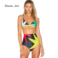 4accb44f06 Seven Joe Push Up Swimwear madam Sexy Print Brazilian Bikini Set Beach  Bathing Suits Swim Wear