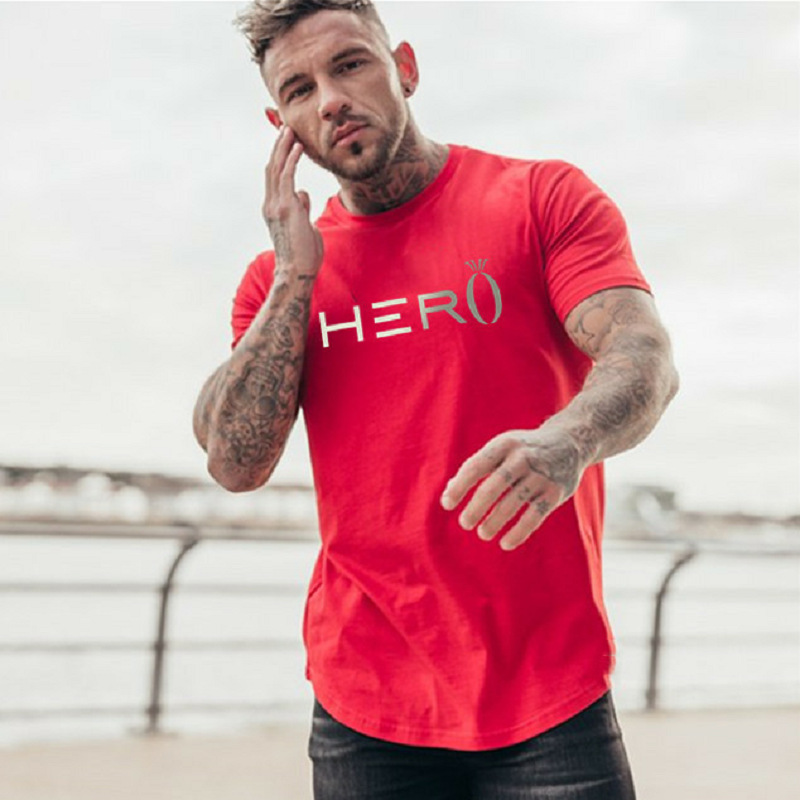 2019 New Brand Gym Shirt Sport Shirt Men Fitness Running Shirt Mens Dry Fit Short Sleeve Training T Shirt Mens Sportswear Tshirt