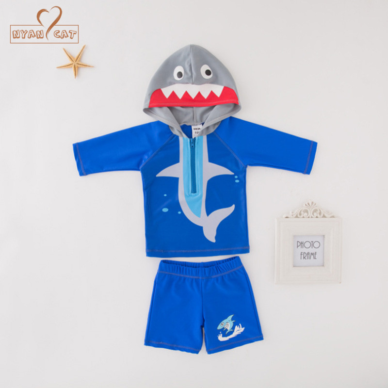 Nyan Cat Summer Baby Boy Shark Sea Animal Hooded Top+shorts 2pcs Set Swimming Suit Infant Toddler Kids Children Swimwear