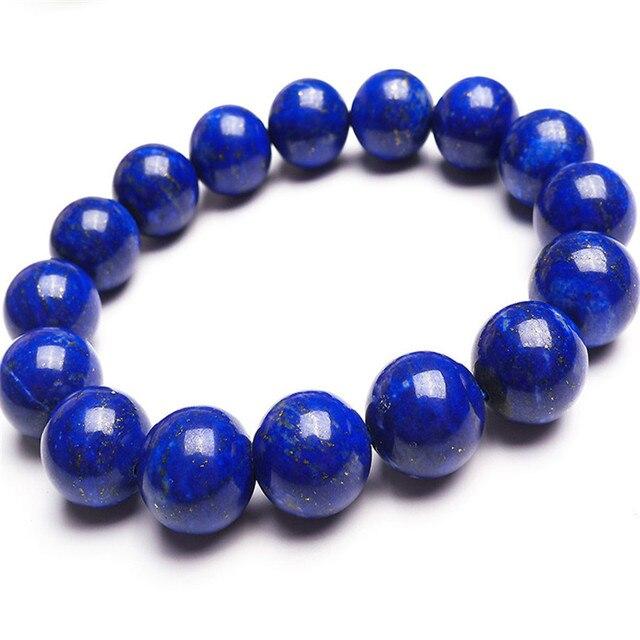 a6c921b01370 12.5mm Genuino Oro Azul Lapis Lazuli Gemas Piedra Natural Pulseras Para Las  Mujeres Femme Ronda