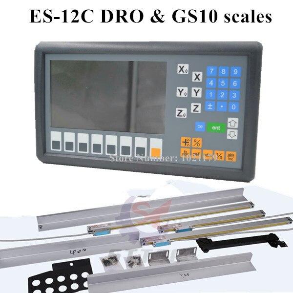 Nuovo sistema ES-12C Easson 3 assi DRO mill tornio 3 assi lettura digitale e 3 pezzi GS10 scala lineare digitale per tornio fresatura