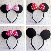 One pcs Lovely Girls Bows Minnie Mickey Mouse Ears kids Hair Accessories Party Headband kid birthday red rose black and pink
