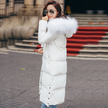 Winter Coat Women 2016 Large Real Raccoon Fur Collar 90% White Duck Down Parka Long Slim Womens Down Jackets For Female Parkas