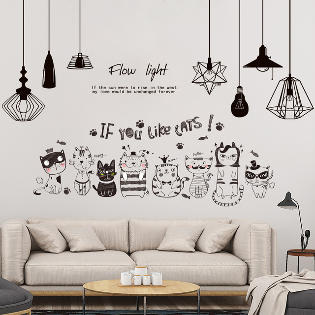 [SHIJUEHEZI] Electric Light Bulbs Wall Stickers Vinyl DIY Black Cats Wall Decals for Living Room Kids Bedroom Decoration