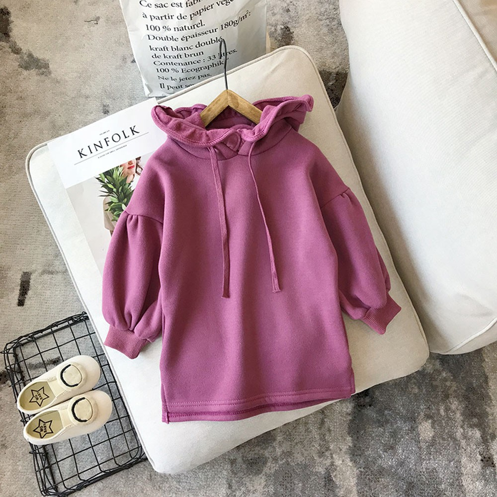 3079e3edf Niño bebé niñas sólido grueso cálido Jersey vestido Tops ropa Robe Meisjes  bata princesa Enfant ...