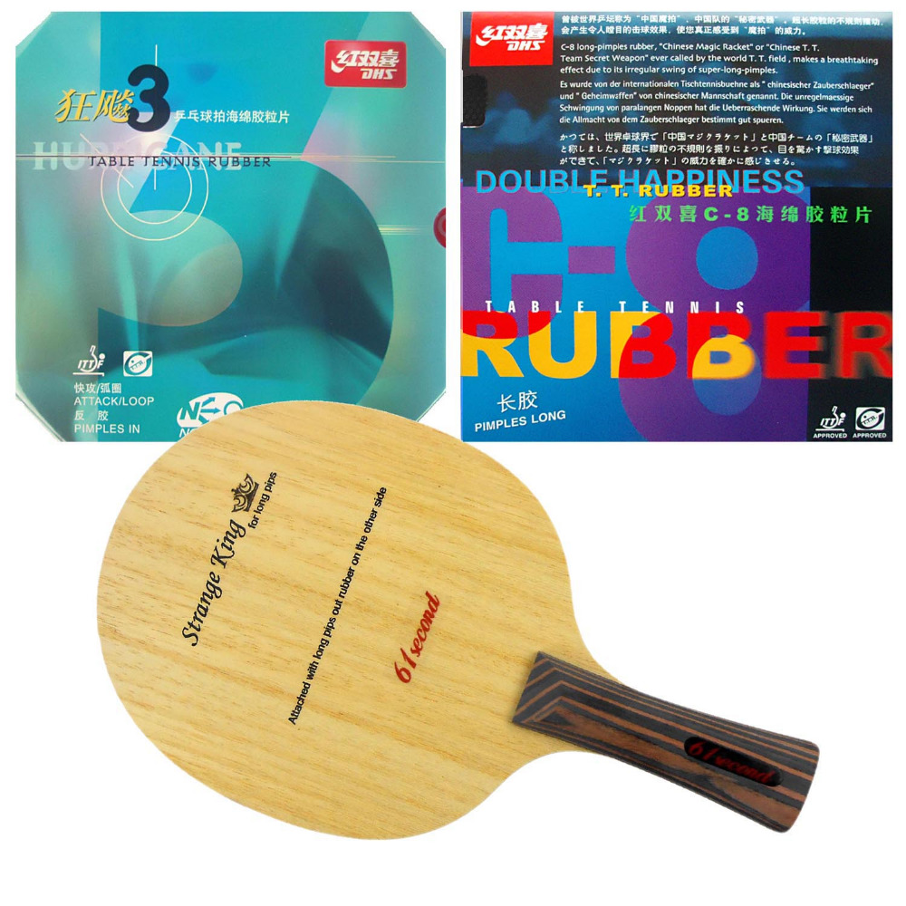 61second Strange King Blade with DHS C8 and NEO Hurricane3 Rubbers for a Table Tennis Combo Racket with a free Cover FL