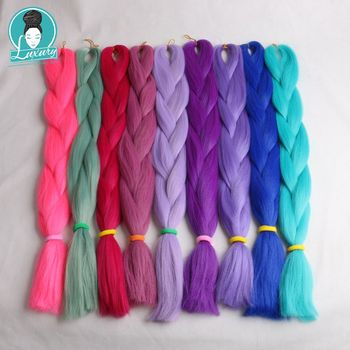 "Luxus 1 pack 80g Solide 24 ""60 cm Gefaltet 100g Ombre Grün Lila Lavendel Lila Synthetische Jumbo flechten Haar für Dreads"