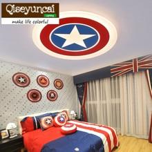 Qiseyuncai 2018 new Captain America, childrens room ceiling lamp, warm star, round acrylic boy bedroom lamp.