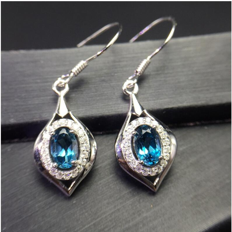 Natural Blue topaz earring Free shipping Natural real Blue topaz 925 sterling silver 4*6mm natural blue topaz earring free shipping natural real blue topaz 925 sterling silver 6 8mm