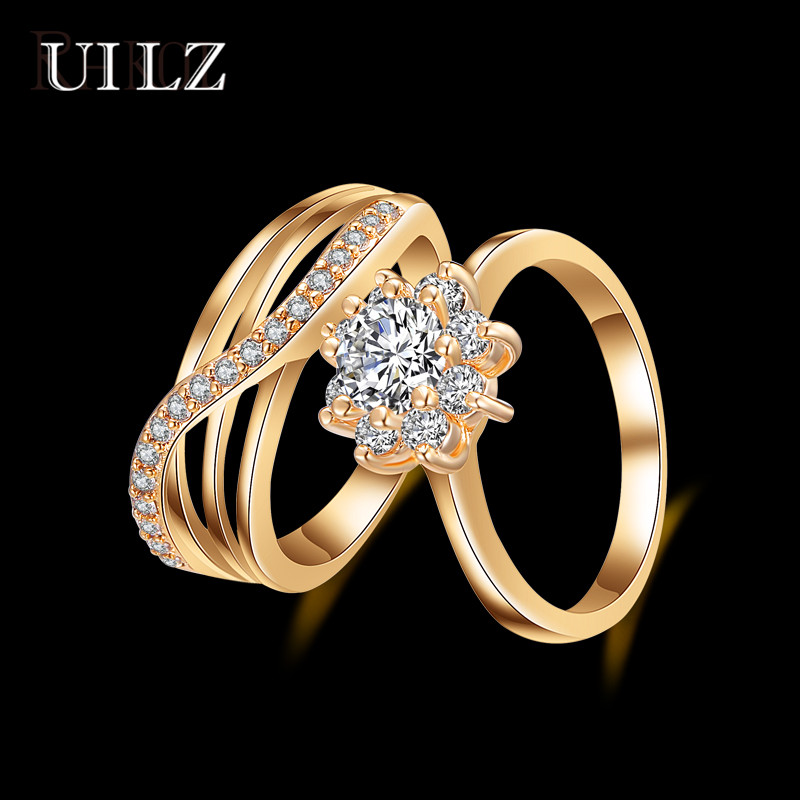 UILZ Gold Color Finger Ring Set With AAA Cubic Zircon Noble Jewelry For Women Girl Party Anneaux UR151