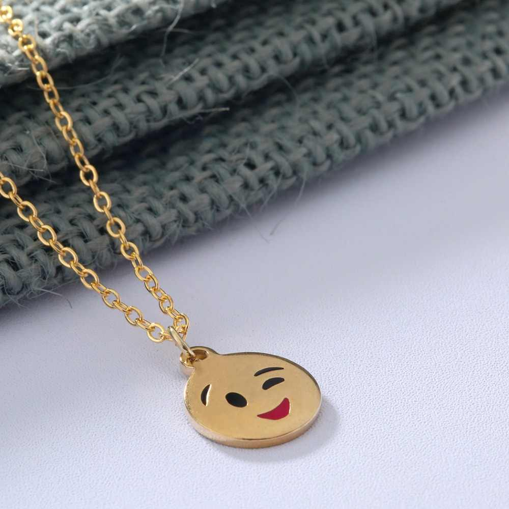 Stainless Steel Emoji Jewelry Smile Face Cute Necklace Women Round Pendant Silver Necklace Women Girl Christmas Gift Bijoux