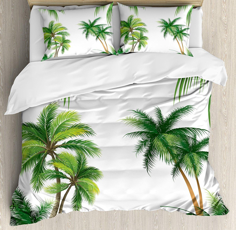 Tropical Duvet Cover Set Coconut Palm Tree Nature Paradise Plants Foliage Leaves Digital Illustration, 4 Piece Bedding Set